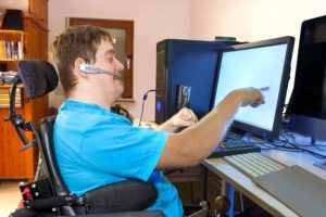 Young man with a disability